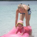 Playing on the lilo with Mum