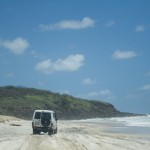 Driving across the sand