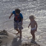 Tyler and Mya get in the water