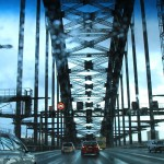 Driving across the bridge