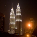 Petronus Towers illuminated