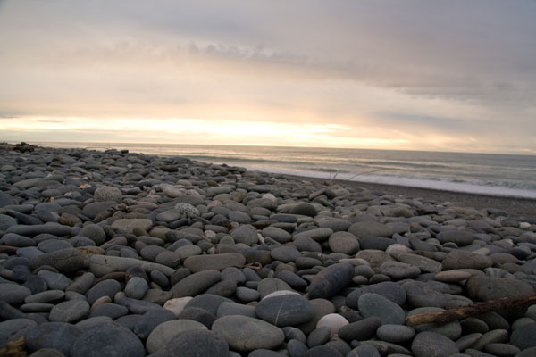 Pebbles at sunset in Greymouth