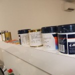 Sample paints lined up ready