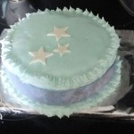 Partly decorated cake