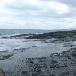 The rocky beach by our motel