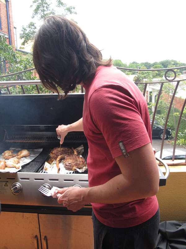 Cooking the steak
